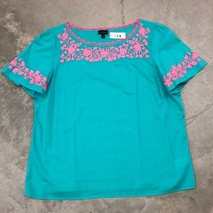 NWT Talbots Turquoise & Pink Embroidered Top